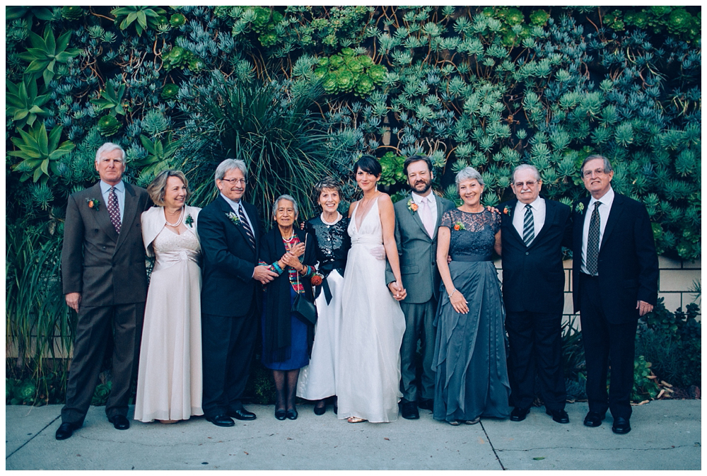 living wall family portrait smog shoppe wedding in Los Angeles