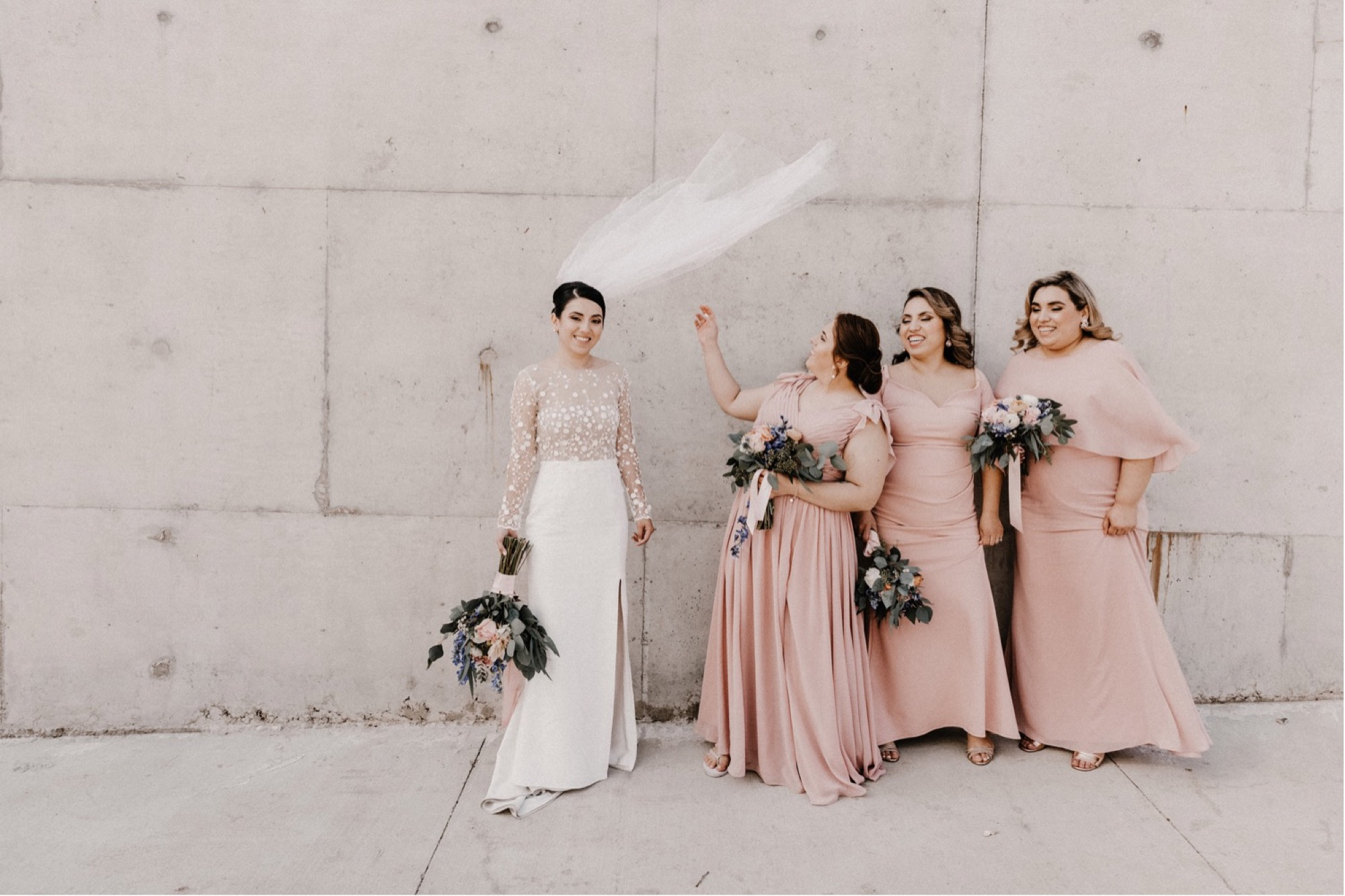 wedding party outside of University of Iowa Visual Arts building