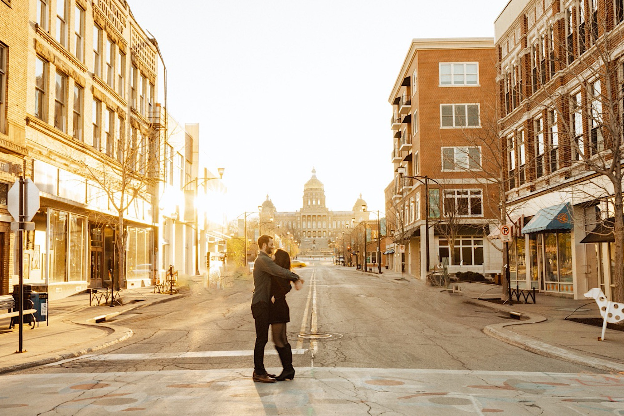 Des Moines engagement session in the East Village
