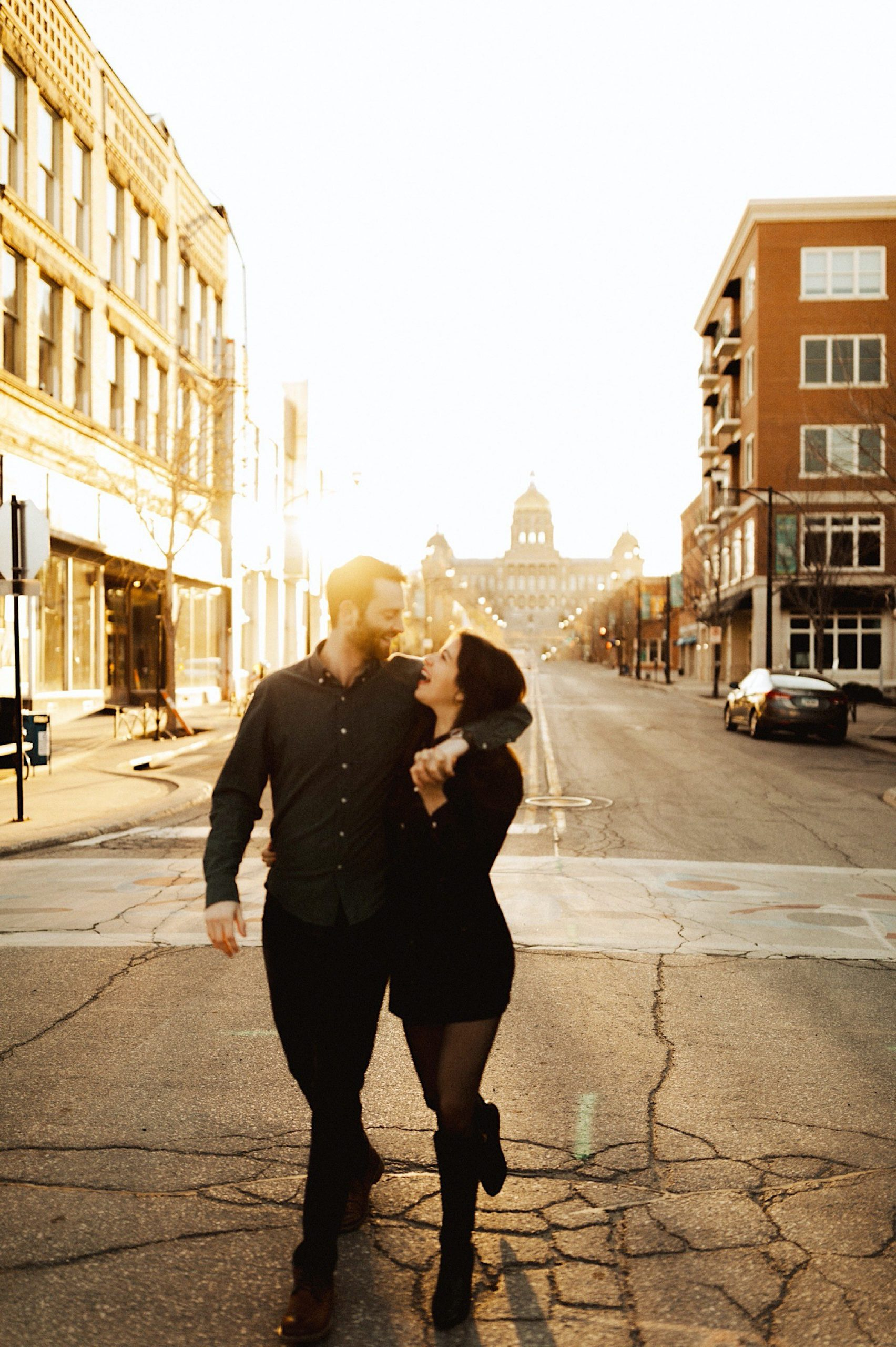Sunrise Des Moines engagement session in the East Village