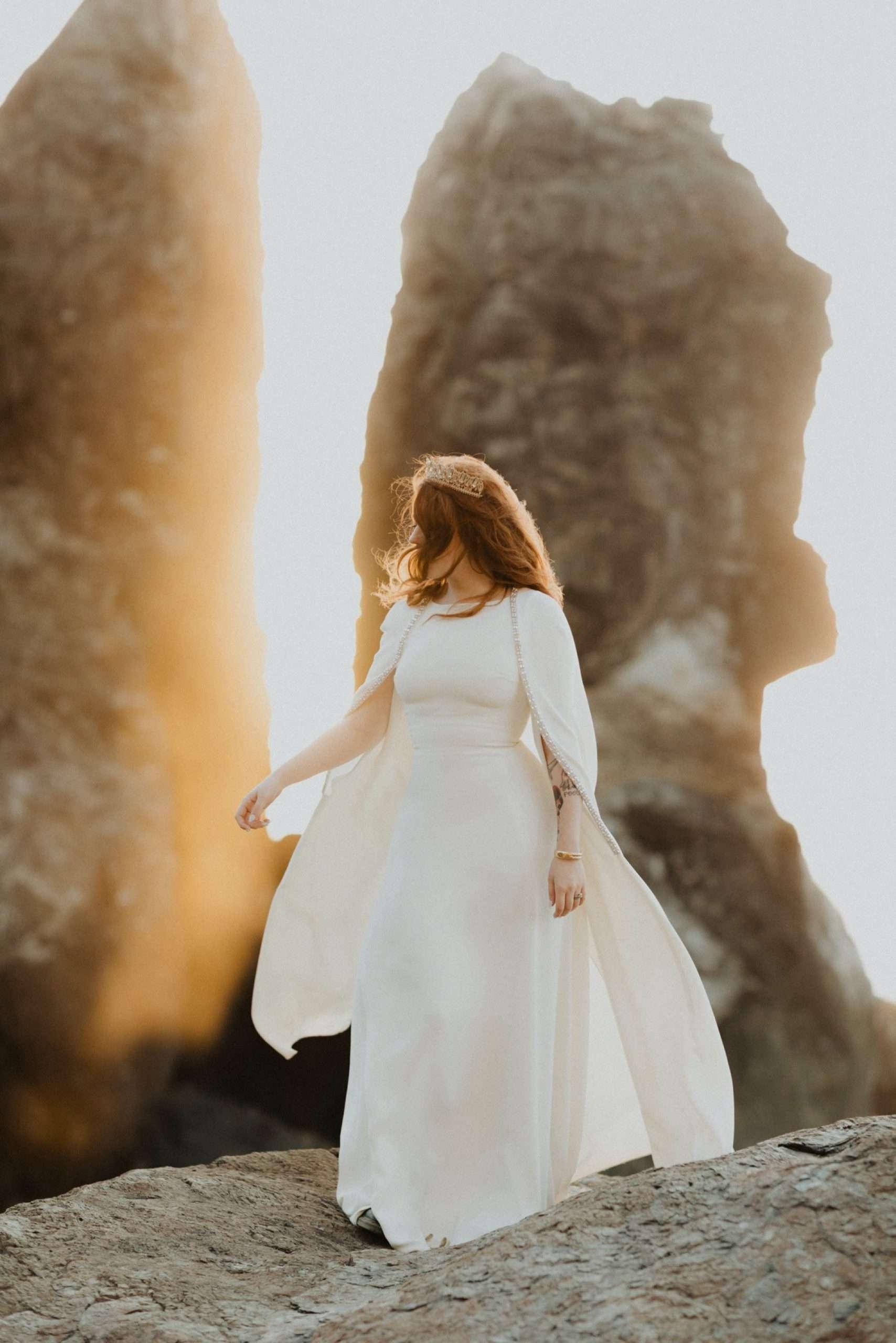 reem acra cape wedding dress at lost whale inn wedding