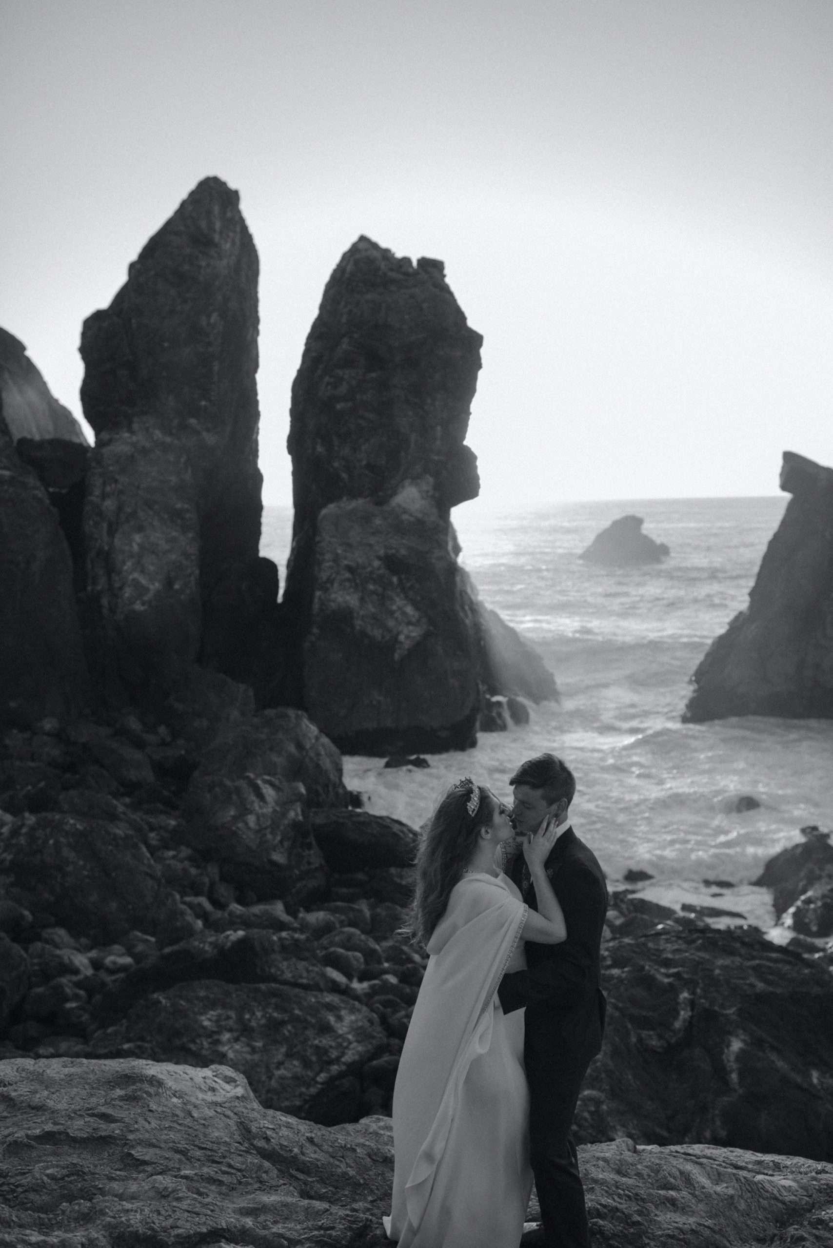 reem acra cape wedding dress at redwood coast wedding in California